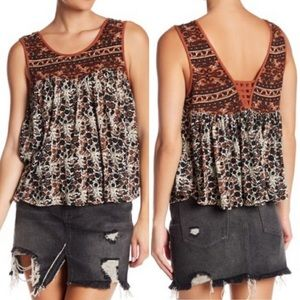 Free People Lucky Coin Linen Blend Tank NWT Sz L